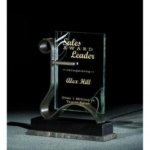 Embracer Corporate Jade Glass Rectangle Award on Metal Base