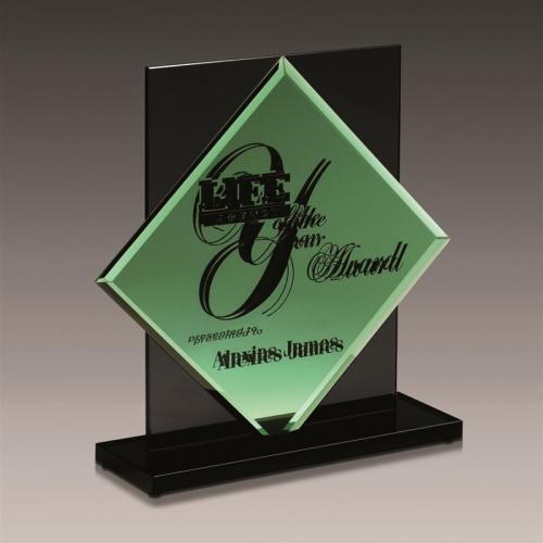 Emerald Green Glass Diamond Award on Black Glass