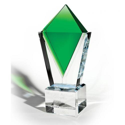 Clear & Emerald Optical Crystal Pinnacle Award
