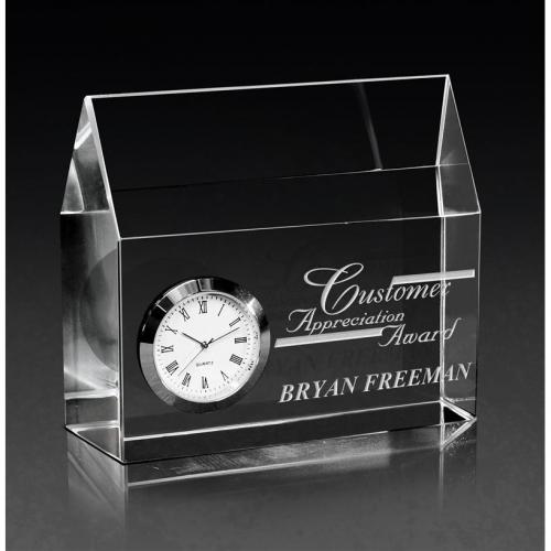 Clear Optical Crystal House of Time Award