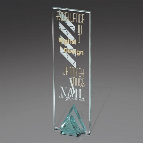 Jade Glass Ridge Tower Award onwith Green Triangle Base