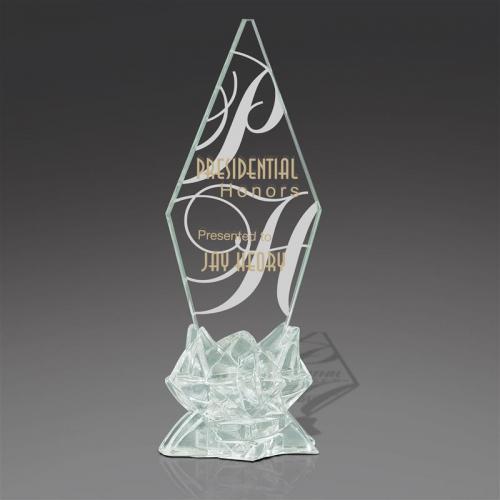 Starphire Jade Glass Pinnacle on Icy Jade Glass Base