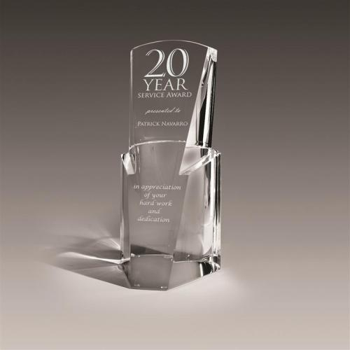 Clear Optical Crystal Lucent Pier Award