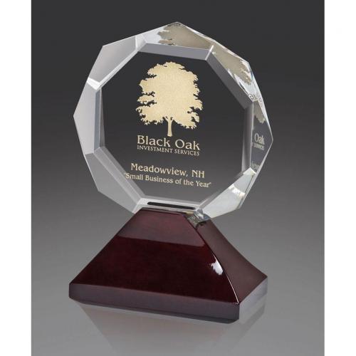 Optical Crystal Laguna Award on Wood Base