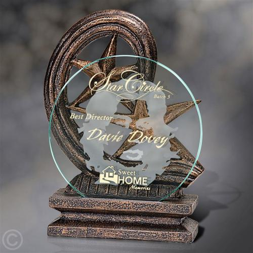 Remolino Cast Resin Award with Glass Disc