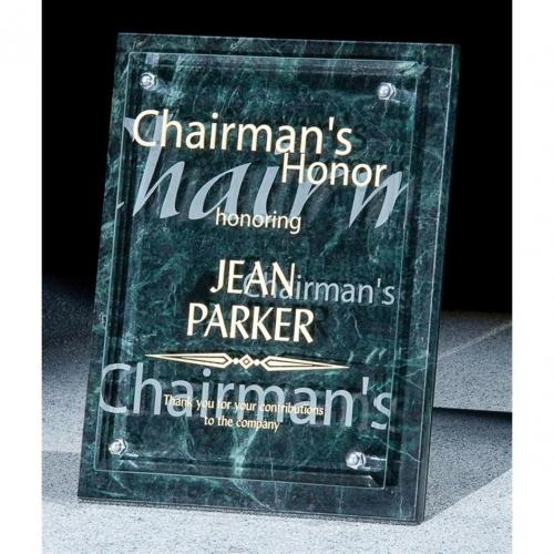 Renewal Green Marble Award with Jade Glass Front