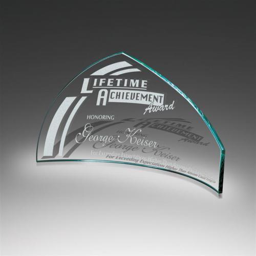 Slumped Pennant Starphire Glass Award