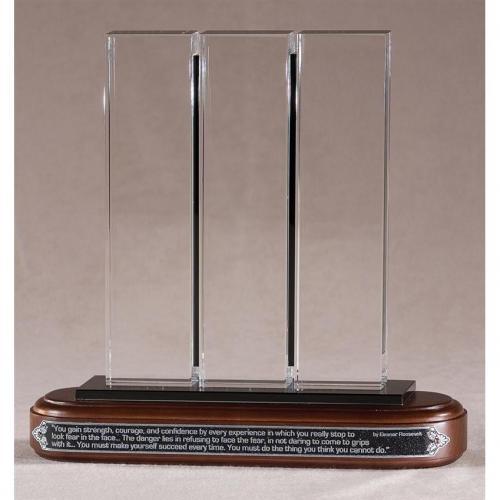 Triborough Optical Crystal & Black Glass Award on Wood Base