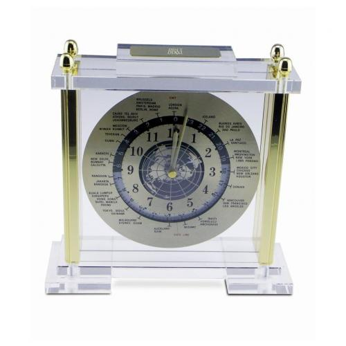 Desktop World Time Clock with Gold Accents & Clear Acrylic on Front & Back