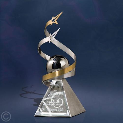 Silver & Brass Star Swirls around Silver Ball Award on Stainless Steel Pyramid