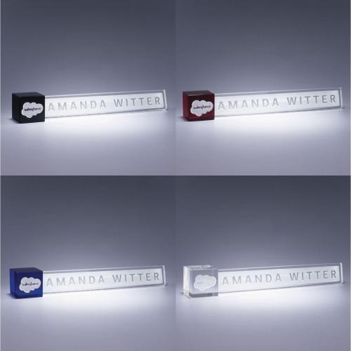 Customizable Color Optical Crystal Accent Nameplate