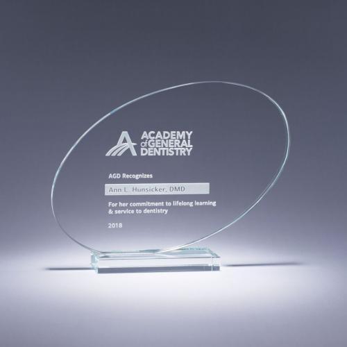Clear Crystal Oval Ventura Award