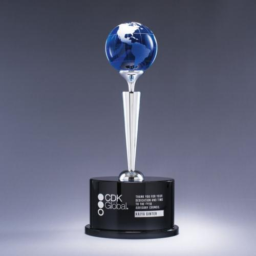 Spectacle Blue Crystal Globe Award on Chrome & Black Base