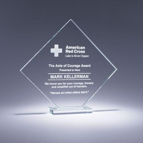 Discover Clear Crystal Square Diamond Employee Award
