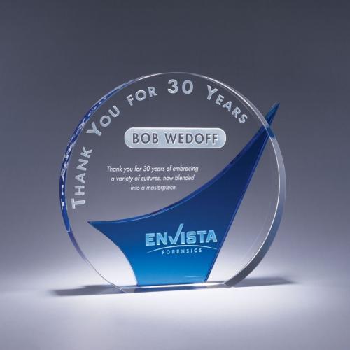 Metaphor Clear Crystal Circle Award with Blue Crystal Wave