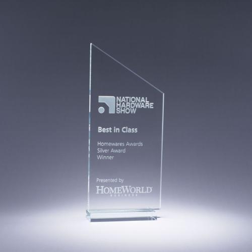 Clear Optical Crystal Transcend Trophy Award