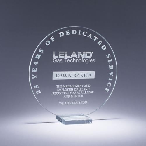 Clear Starphire Crystal Circle Serenity Award on Clear Base