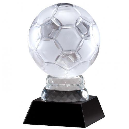 Optical Crystal Soccer Ball Award on Jet Black Base