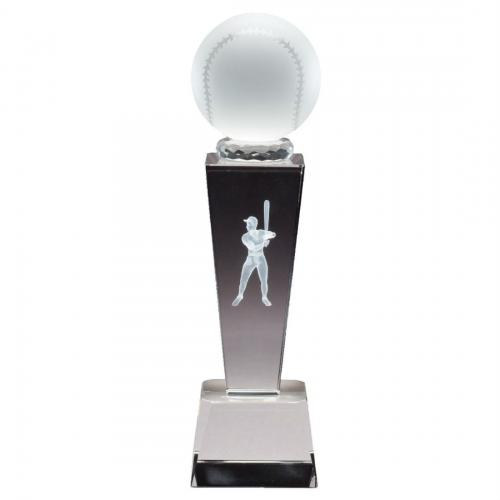 Optical Crystal 3D Men's Baseball Tower Award with Frosted Glass Basebball