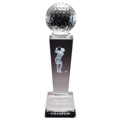 Optical Crystal 3D Women's Golf Tower Award with Golf Ball