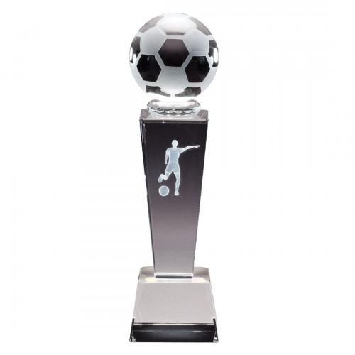 Optical Crystal 3D Women's Soccer Tower Award with Frosted Glass Soccer Ball
