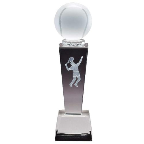 Optical Crystal 3D Men's Tennis Tower Award with Tennis Ball with Frosted Glass Tennis Ball