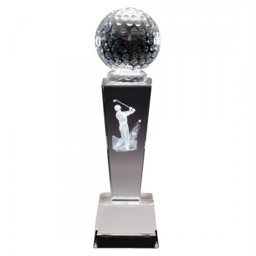 Optical Crystal 3D Men's Golf Tower Award with Golf Ball