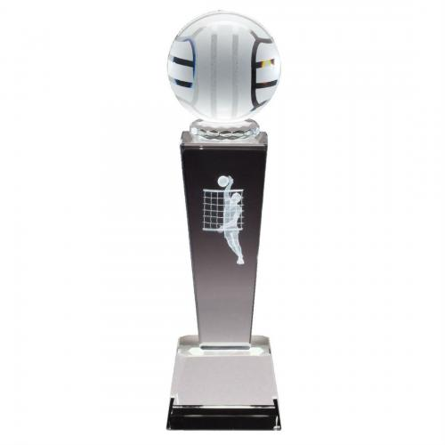 Optical Crystal 3D Men's Volleyball Tower Award with Frosted Glass Volley Ball