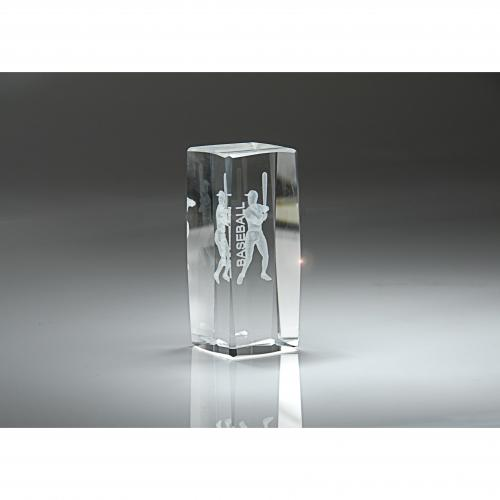 Clear Optical Crystal 3D Rectangle Baseball Award