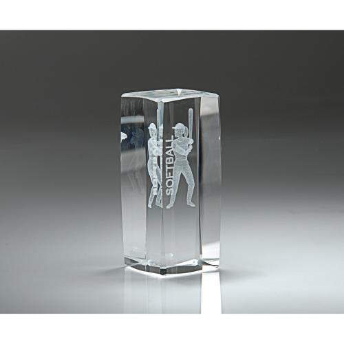 Clear Optical Crystal 3D Rectangle Softball Award