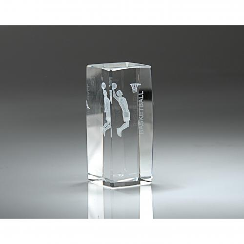 Clear Optical Crystal 3D Rectangle Men's Basketball Award