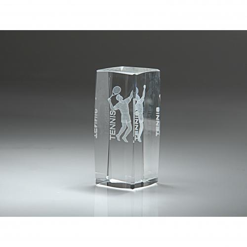 Clear Optical Crystal 3D Rectangle Men's Tennis Award