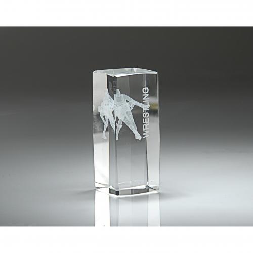 Clear Optical Crystal 3D Rectangle Wrestling Award