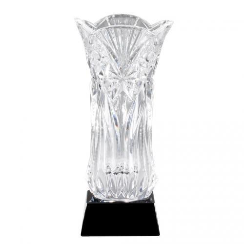 Layla Optical Crystal Flared Vase Award on Black Base