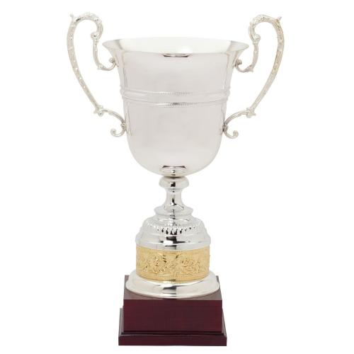Taranto Italian Silver Trophy Cup with Gold Accents on Mahogany Base