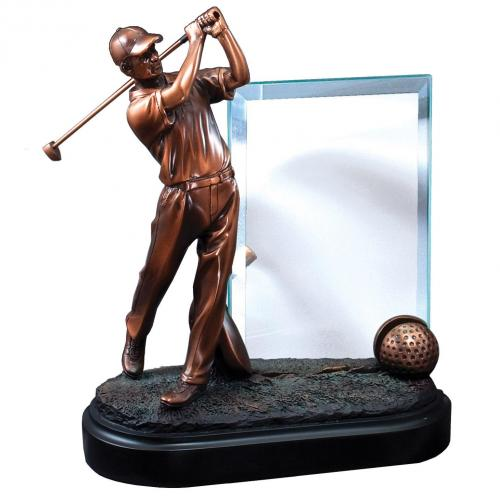 Bronze Finish Golf Statue Award with Glass Plate on Black Base