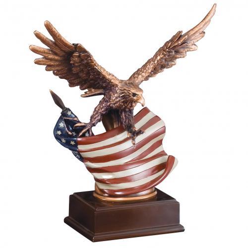 American Eagle Statue Award with Rustic Flag Award on Black Base