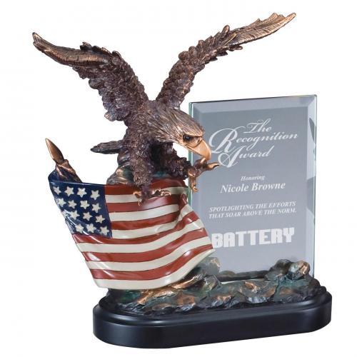 Bronze Finish Eagle Award with American Flag on Black Base
