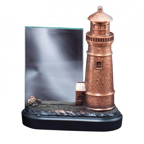 Bronze Finish Lighthouse Statue Award with Glass Plate