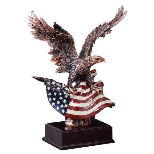Bronze Bald Eagle Award with American Flag on Black Base