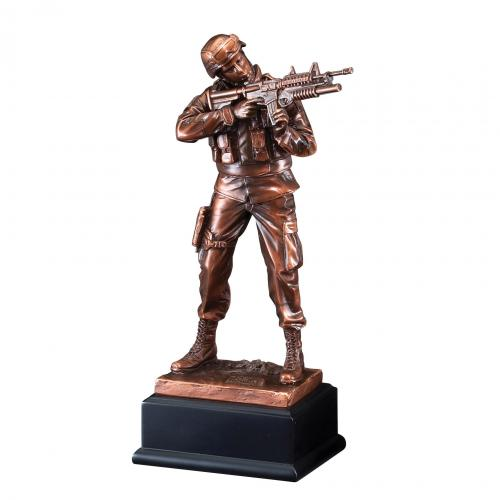 Resin Army Statue Award on Black Base