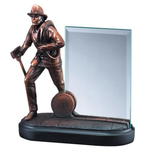 Bronze Finish Firefighter Statue Award with Glass Plate