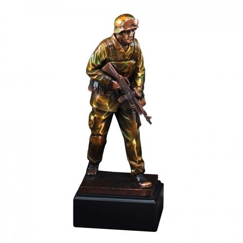 Camouflage Military Statue Award on Black Marble Base