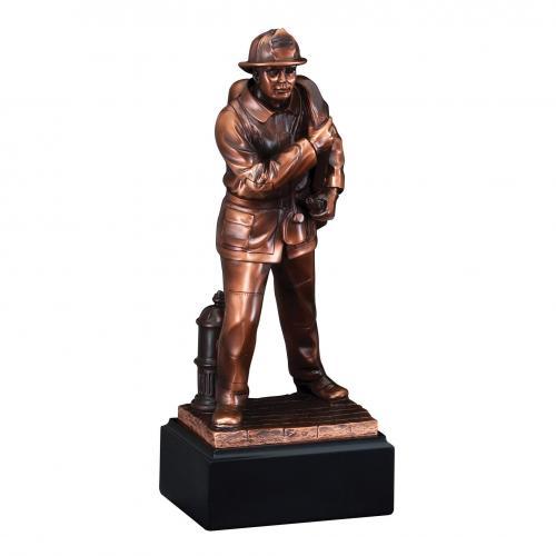 Bronze Finish Firefighter Statue Award on Black Base