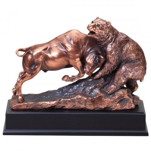 Bull & Bear Sculpture Award on Black Base