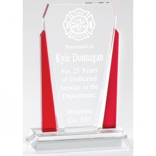 Leadership Red & Clear Optical Crystal Diamond Award