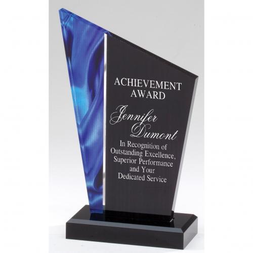 Deco Peak Blue & Black Acrylic Award on Black Base