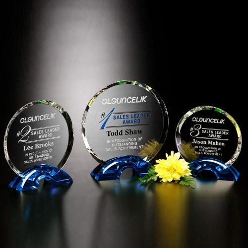 Greenbrier Indigo Blue & Clear Optical Crystal Circle Award