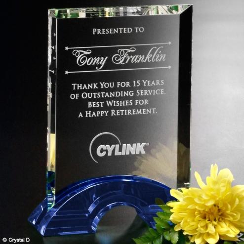 Greenbrier Indigo Blue & Clear Optical Crystal Rectangle Award