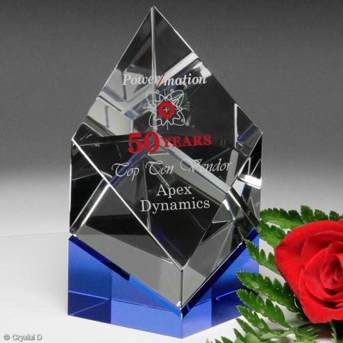 Vicksburg Indigo Optical Crystal Diamond Award on Blue Base